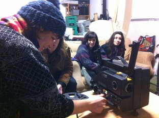 Mary lacing up Emma Hardaker's 8mm film